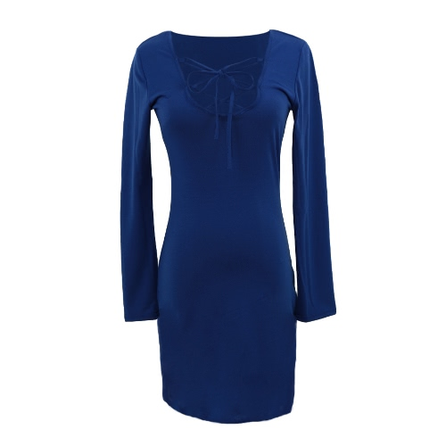 Fashion Sexy femmes robe réglable bracelet dentelle haut col v Long manchon Bodycon Mini robe Royal bleu/rose