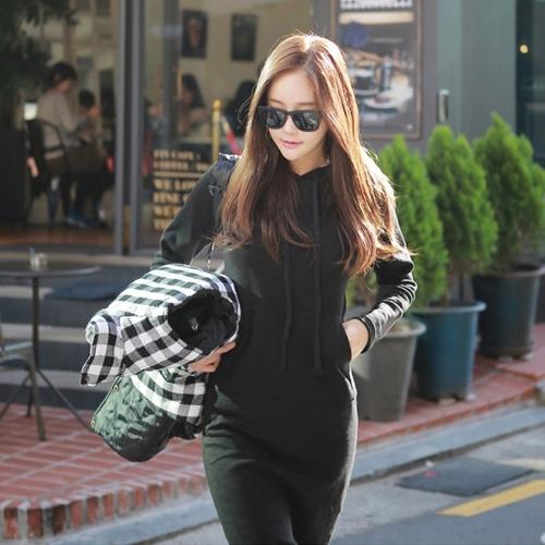 Coreano moda donna abito con cappuccio collo marsupio anteriore tasca maniche lunghe fodera in pile Abito lungo Maxi Felpe con cappuccio