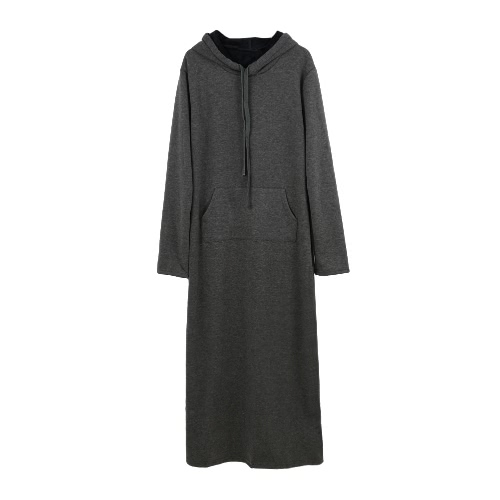 Mulheres moda coreano vestem com capuz pescoço bolsa frontal bolso manga comprida Velo forro Hoddies Maxi vestido longo