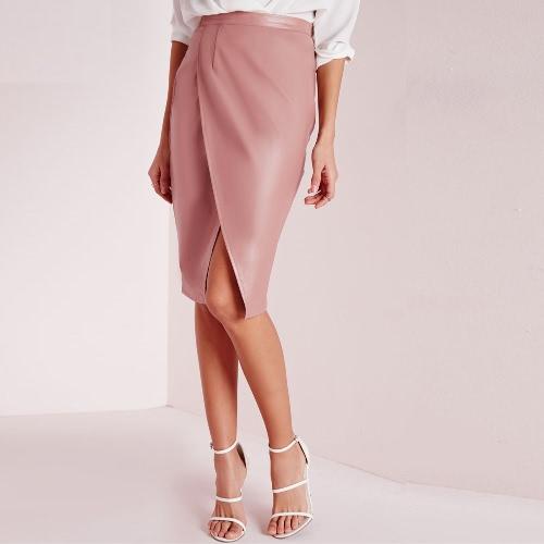 Nuevo Sexy mujer PU falda cintura alta delantera cruzada Color sólido polar forro Midi falda rosa/Borgoña/oscuro verde