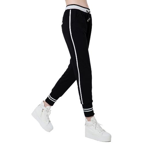 Moda mujer harén pantalones rayas cintura elástica cordón bolsillos Yoga Sport Casual pantalones sueltos