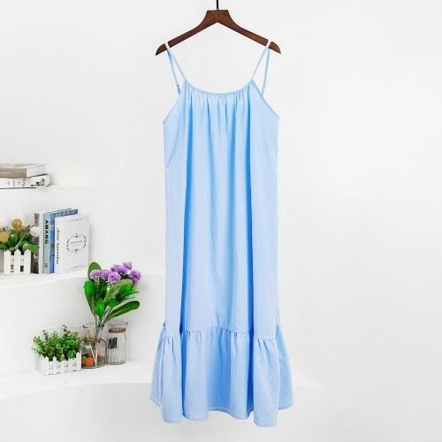 Women Ruffle Dress Spaghetti Straps Sleeveless Backless Pleated Dress Summer Long Dress