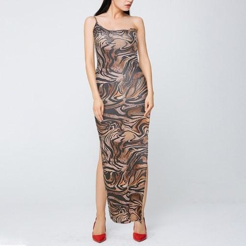 Fashion Women Tiger Print Dress One Shoulder Sleeveless Backless Bodycon Split Long Dress for Party Club