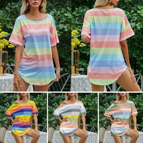 tomtop.com camicia a righe casual da donna righe arcobaleno o-collo manica corta pullover oversize summer tops, donna
