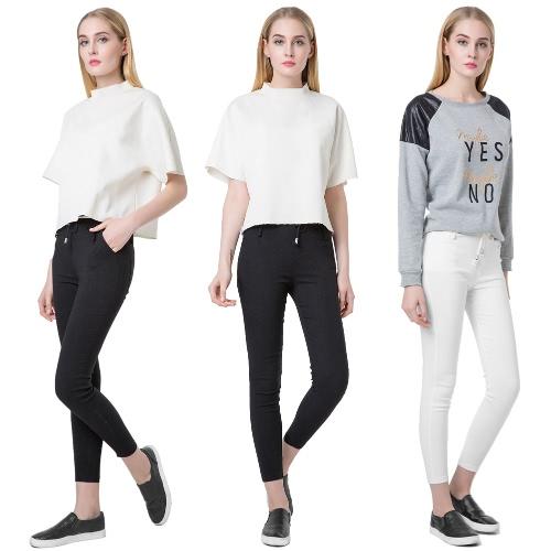 TOMTOP / Nueva moda mujer pantalones casuales cintura elástico Lazo Slim lápiz pantalones pantalones negro