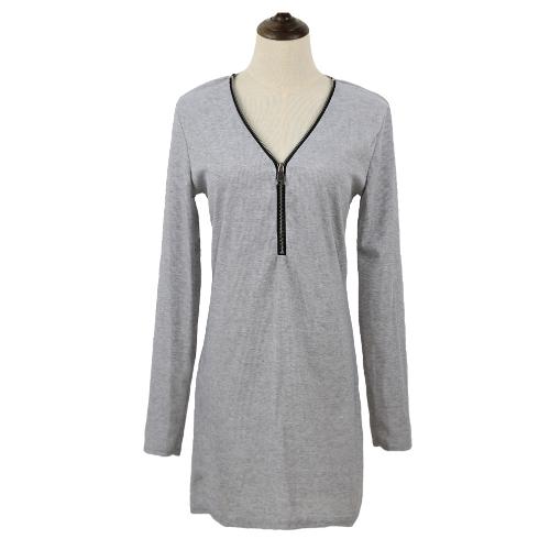 Sexy mujeres Mini vestido cremallera sólida Color V cuello de manga larga bodycon vestido camiseta informal de