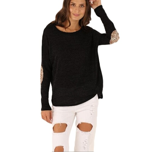 Casual Round Neck Long Sleeve Glittering Splice Irregular Hem Tops Women's T-shirt