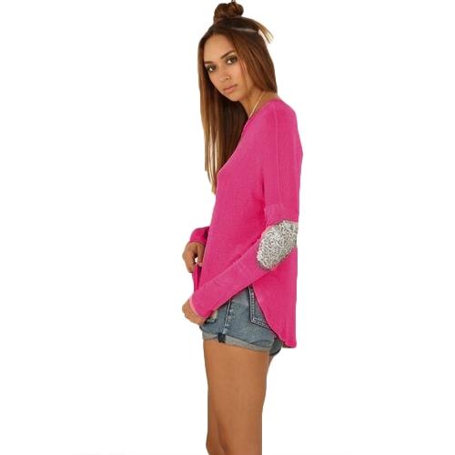 Новые моды женщин футболки круглый шею длинным рукавом сращивания украшения подол нерегулярные вершины тройник
