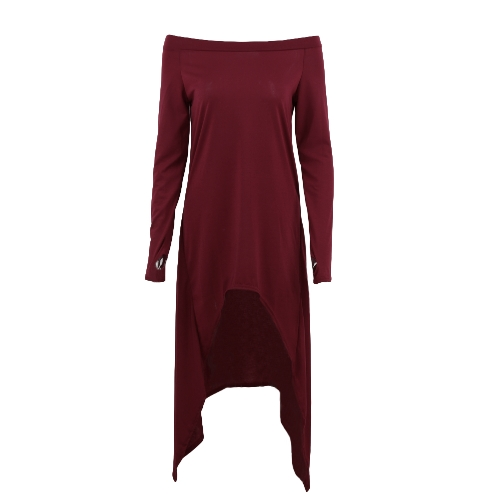 Moda na ramieniu z długim rękawem asymetryczna Casual luźna koszulka dla kobiet