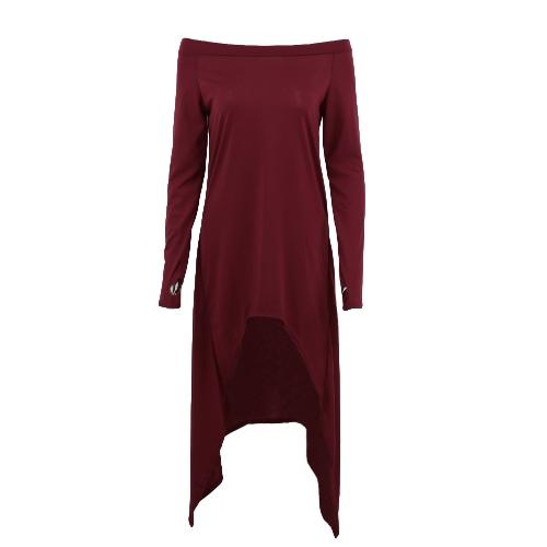 Nova moda mulheres camiseta vestido ombro longa manga assimétrica Casual solta vestido Pullover
