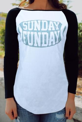 Moda mujer camiseta Color letra impresión borde Irregular Casual blusa Tops gris/blanco