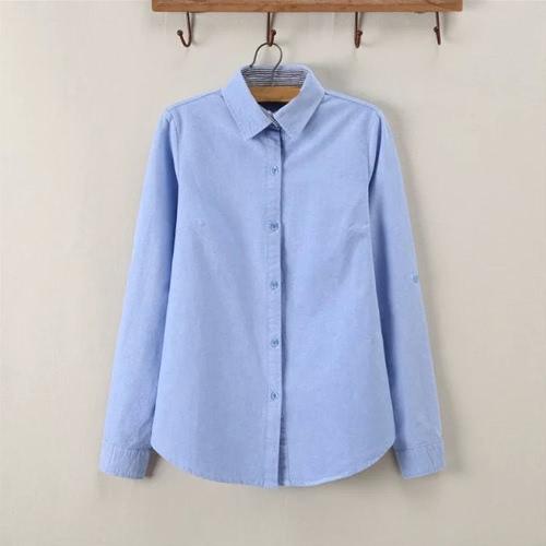 Nueva moda mujer camisa a rayas cuello descubierta botón Placket Color sólido blusa camisera