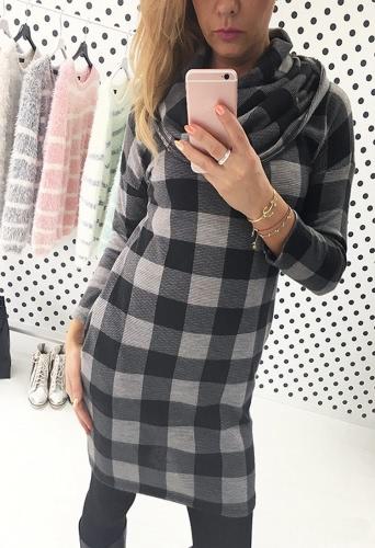 Europa mujeres vestido contraste cuadros impresión lateral bolsillo vestido Mini vestido de manga larga de cuello gris/negro