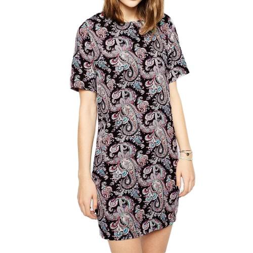 New Vintage Women Shift Dress Paisley Print Round Neck Short Sleeve Back Zipper Colorful Dress Black