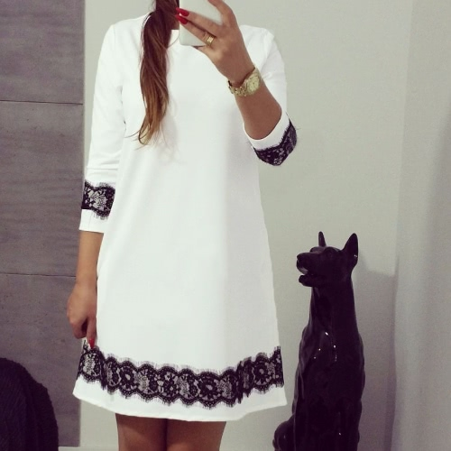 Nueva moda mujeres Mini vestido encaje empalme 3/4 manga O cuello suelto vestido Casual blanco