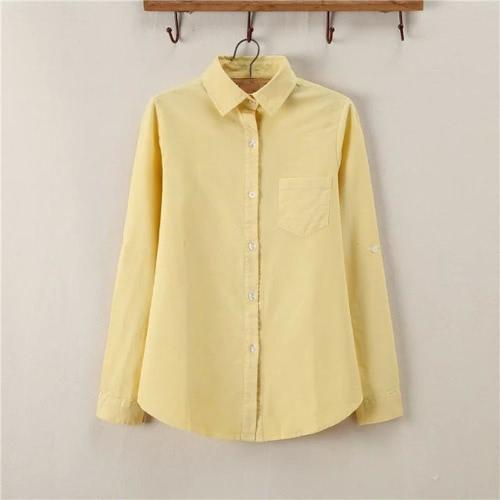 Nueva blusa de moda mujer camisa sólido punto Collar largo manga pecho bolsillo Casual primavera otoño