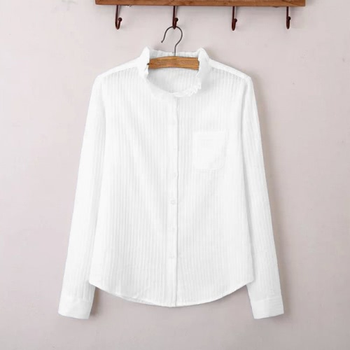 Nueva moda mujer camisa descubierta cuello Stand Collar manga larga botón blusa Casual Formal Tops