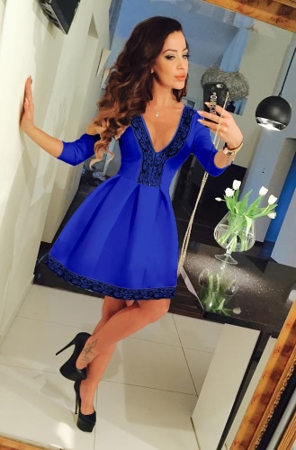 New Fashion Women Dress Lace Pleated Deep V-Neck 3/4Sleeves A-Line Sexy Party Dress