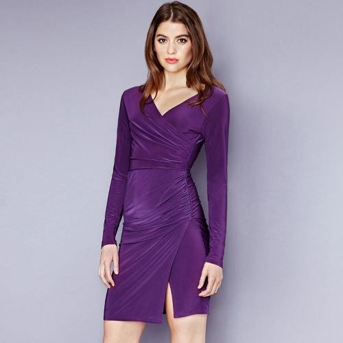 Nowe mody Kobiety Sukienka Głęboki dekolt z długim rękawem Krzyż Fold Splitu Nieregularne Hem Sukienka Fioletowy