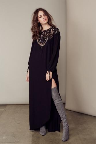 Nueva mujer Sexy vestido encaje abierto espalda muslo partido redondo de cuello largo vestido de manga larga Negro/Borgoña