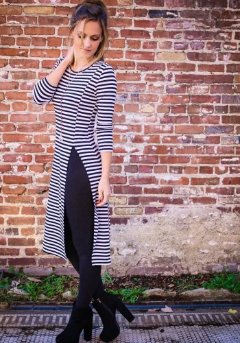 New Fashion Women Dress Stripe Round Neck Long Sleeve Split Hem Casual Slim Dress Dark Blue
