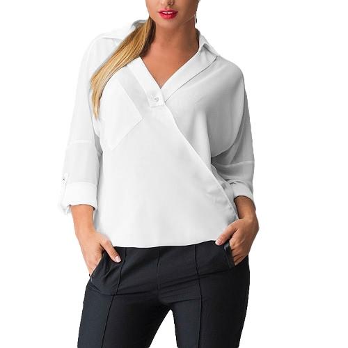 Nueva moda mujer blusa con cuello en v manga larga vuelta abajo cuello camisa Casual Tops sueltos
