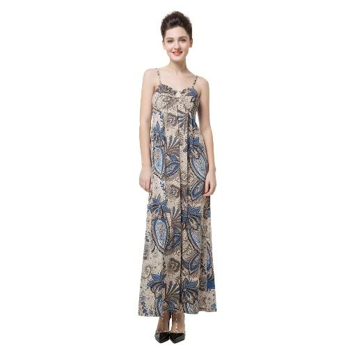 Nueva elegancia las mujeres Maxi Vestido estampado Floral V cuello luz relleno de espaguetis correa Vestido de fiesta azul