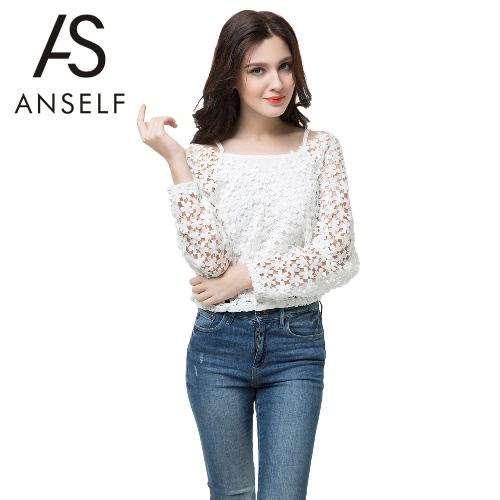 Nueva moda blusa chaleco dos piezas Crochet encaje con cuello en v manga larga Casual superior blanco