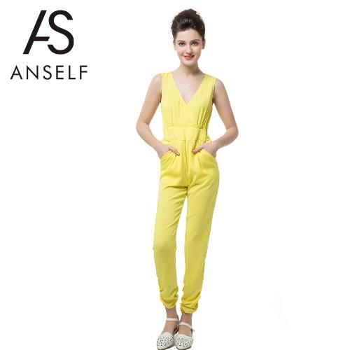 Neue Sexy Frauen sexy tiefen V-Ausschnitt Kreuz ärmellos Schlüssel-Loch-Knopf elastische Taille Strampler gelb