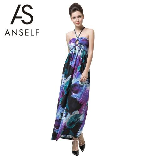 Neue Sexy Frauen Strand Kleid Vintage Floral Print Bandeau Halter Krawatte Polsterung elegante Kleid lila