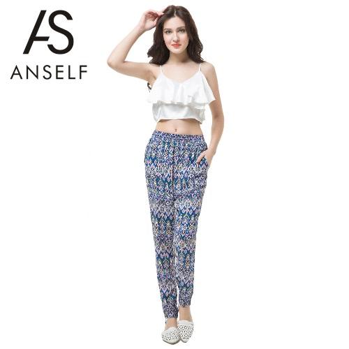Nuevo Europa mujeres harén pantalones cintura elástico impresión geométrica bolsillos pantalones sueltos Causal Bohemia azul