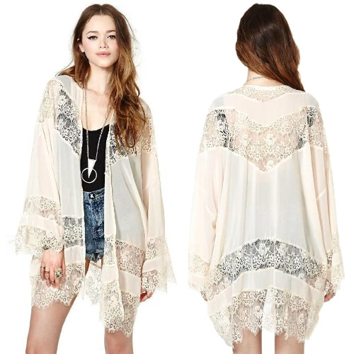 New Fashion Women Long Cardigan Crochet Lace Hollow Out Flare Sleeve Slim Elegant Outwear Beige