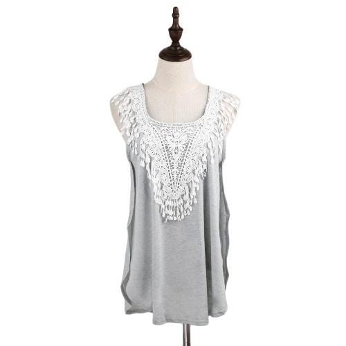 TOMTOP / Nova moda mulheres t-shirt Crochet Lace lado Splits redondo pescoço sem manga blusa Casual cinza