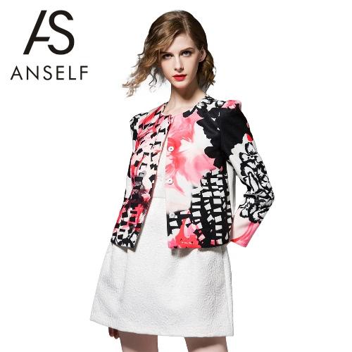 New Spring Women Floral Print Coat Button Front O Neck Long Sleeve Elegant Lady Short Coat Outerwear Black