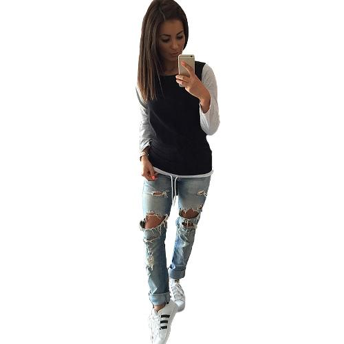 Nueva moda mujer camiseta Color bloque lazo diseño Casual Tops de manga larga cuello gris/negro/blanco