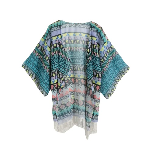 New Vintage Women Long Kimono Geometric Print Tassel Half Sleeves Casual Loose Thin Coat Outerwear Blue