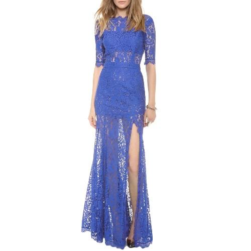 Nueva mujer elegante largo vestido de encaje hueco hacia fuera sin respaldo partido Sexy noche Party coctel vestido Maxi vestido negro/azul