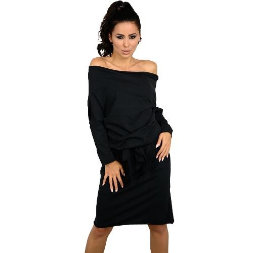 Nueva Sexy vestido de las mujeres Slash cuello de hombro de manga larga con cinturón flojo ocasional vendaje Mini vestido