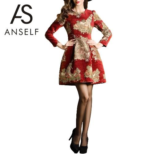New Fashion Women Mini Dress Print O-Neck Long Sleeves Zipper Pocket A-Line Elegant Vintage Dress Red