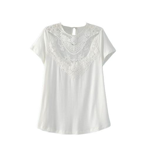 Nueva mujer blusa Color sólido cordón del ganchillo del hueco a cuello redondo manga corta camisa Casual Tops negro/rojo/blanco
