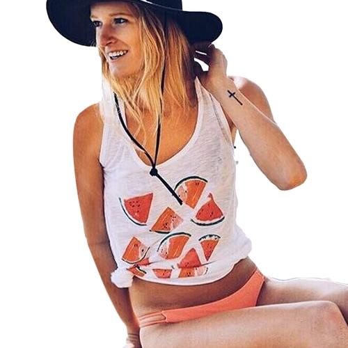 TOMTOP / Nova moda mulheres regata melancia colete Casual sem mangas de impressão O-garganta t-shirt Top branco
