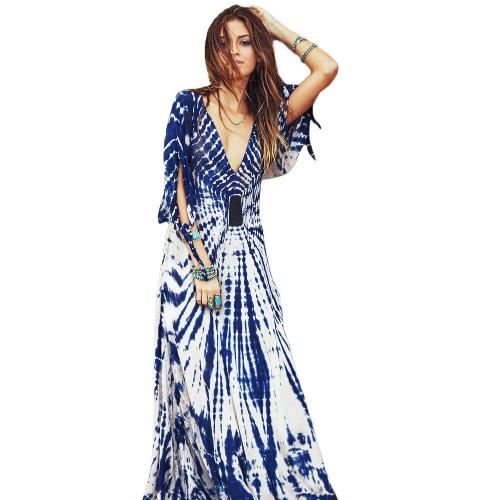 Nuevo Maxi de Boho vestido contraste grabado profundo escote en v lado cremallera 3/4 manga playa noche vestido de fiesta largo azul