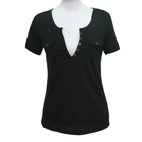 Camiseta de mujer sexy profundo escote en v mangas cortas botón Pullover blusa Casual Slim Clubwear Top blanco/negro