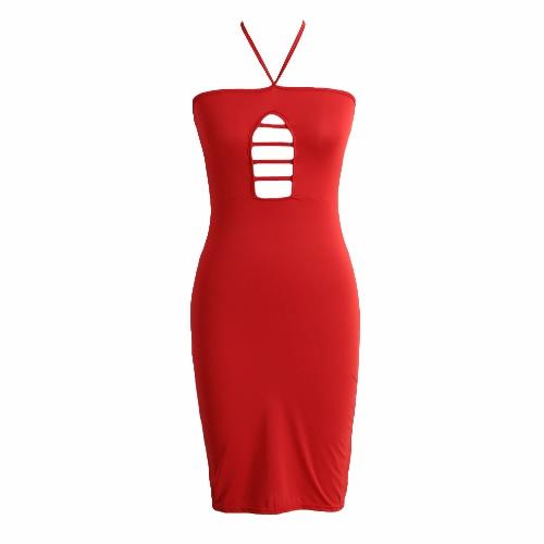 Las mujeres Halter vestido vendaje vestido Bodycon hueco hacia fuera Sexy vestido de fiesta Color sólido negro/rojo/blanco