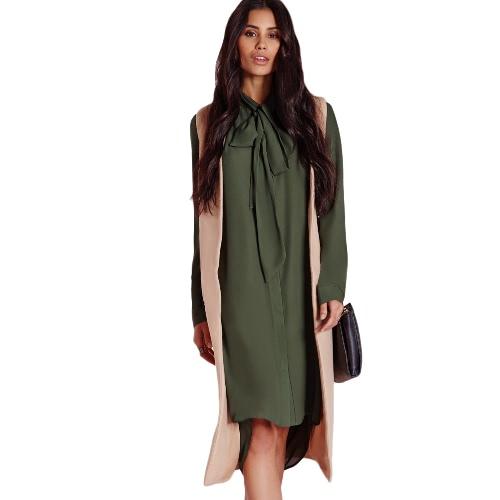 Fashion Women Dress Bow Neckline Asymmetrical Hem Design Hidden Buttons Long Sleeves Shirt Dress Dark Green