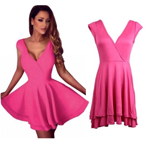 Las mujeres Skater Mini vestido vestido de coctel atractivo Clubwear vestido Backless sin mangas vestido sólido rosa