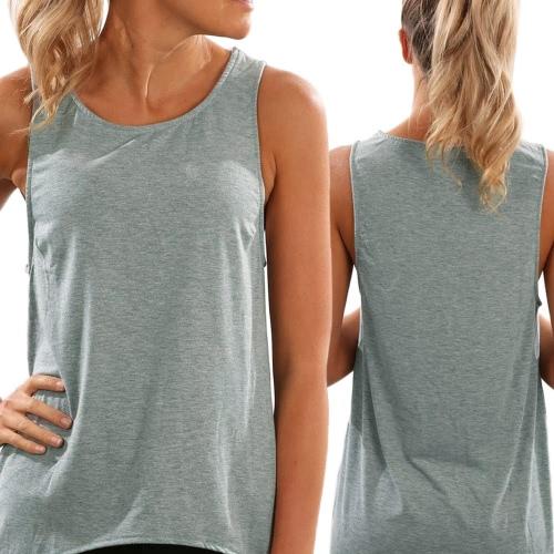 Las mujeres de palangre tanque chaleco superior dobladillo asimétrico sin mangas O cuello recortada camiseta Casual Top negro/gris