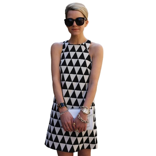 Nueva mujer Sexy Mini vestido sin mangas vestido de noche fiesta impresión geométrica cambio vestido negro