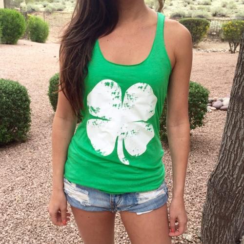 Neue Fashion Sommer Damen Weste Tank T-shirt Druck O-Neck Sleeveless Pullover lässig oberen Laubgrün