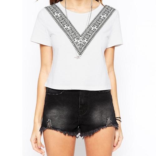 Sommer Frauen kastenförmigen T-Shirt Kontrast V Print Kurzarm O Hals abgeschnitten oben lässig Tee weiß